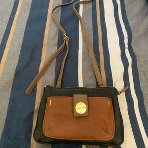 Franco Sarto brown and black purse with long strap
